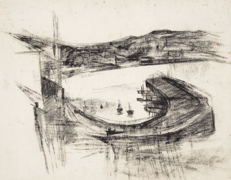 Paul Feiler  Newlyn Harbour , 1959  Conté on paper  40 x 51 cm