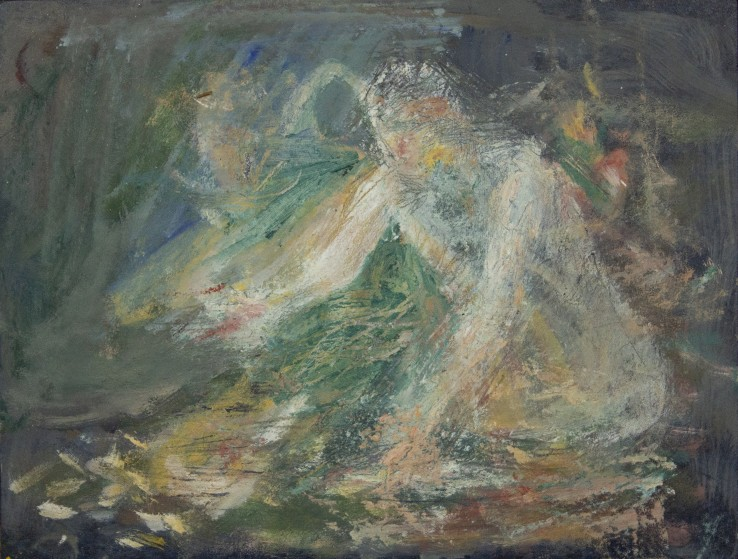 Susannah Fiennes  Bather emerging , 2018  Oil on lino  19 x 25 cm
