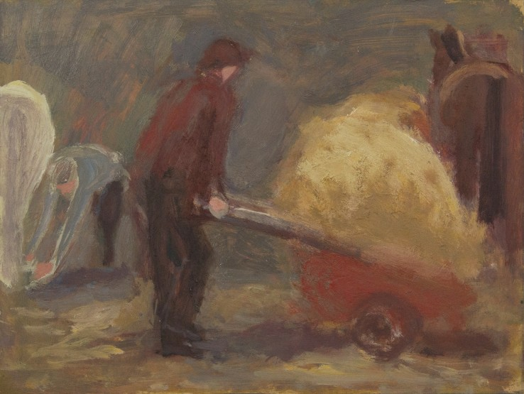 Susannah Fiennes  Ellen and wheelbarrow, 2015  Oil on board  20 x 25 cm