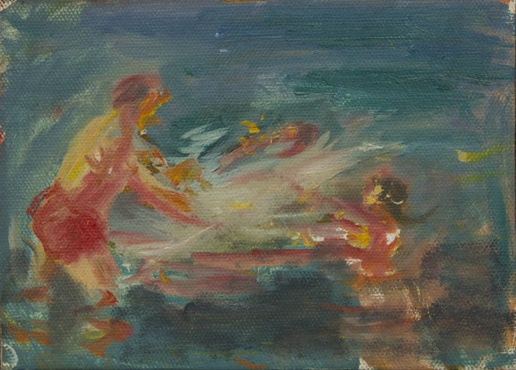Susannah Fiennes  Bathers splashing (iii), 2014  Oil on paper  19 x 25 cm