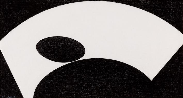 John Carter  Mezzaluna, 1974  Conté crayon on paper  27 x 50.5 cm
