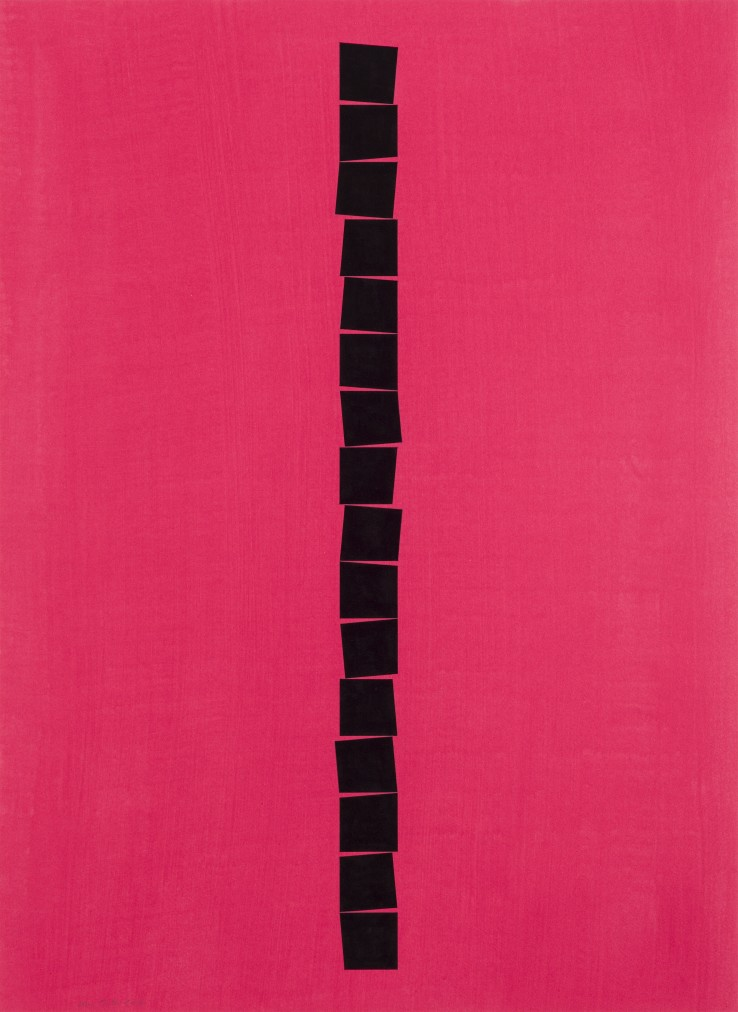 John Carter  Identical Shapes Cascade, Coral Ground, 2014  Acrylic on paper  71 x 52 cm