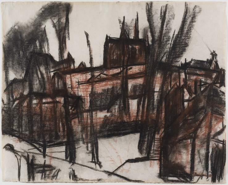 David Bomberg  Chartres Cathedral, Side Facade, 1953  Charcoal and red chalk on paper  49 x 60 cm  Signed and dated lower right