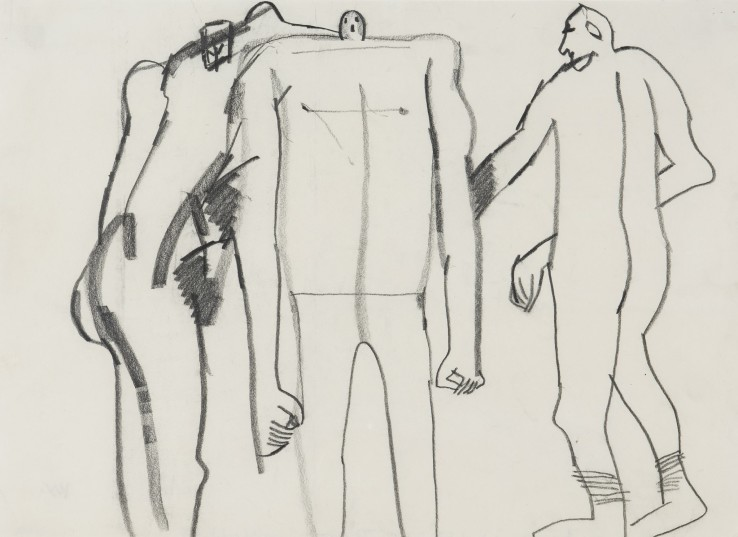 Keith Vaughan  John Russell, Francis Bacon and David Sylvester, 1976  Pencil on paper  36 x 50 cm  Studio stamp verso
