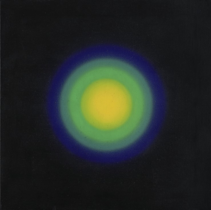 Peter Sedgley  Constellation, 1966  PVA on canvas  51 x 51 cm  Signed, dated and titled verso