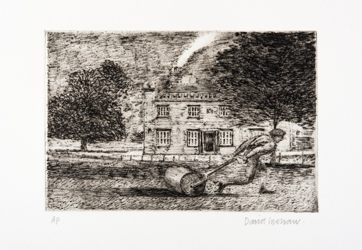 David Inshaw  Rolling the Pitch, 2010  Etching on perspex  13 x 19 cm  AP  Signed