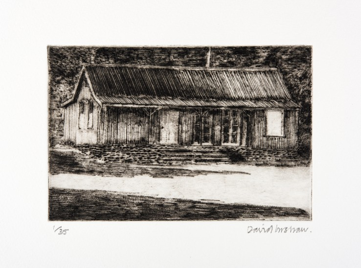 David Inshaw  The Pavilion, 2010  Etching on perspex  12 x 19 cm  1/35  Signed