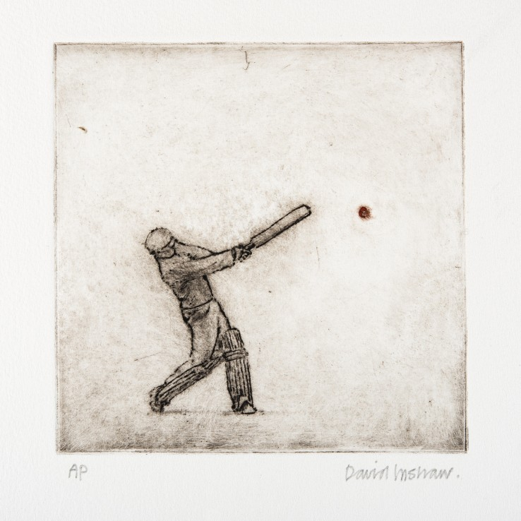 David Inshaw  Simon Hits a Six, 2010  Etching on perspex  15 x 15 cm  AP  Signed