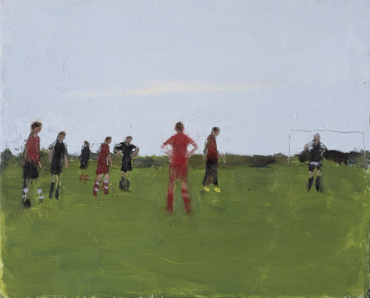 Danny Markey  Red and Black Footballers  Oil on board  23.6 x 29.5 cm  Signed and dated verso