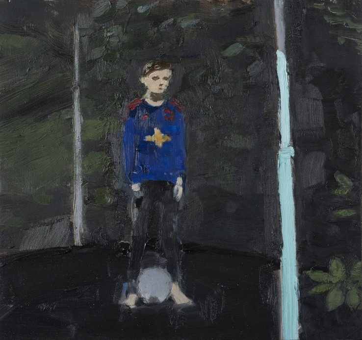 Danny Markey  Joe on the Trampoline  Oil on board  25.6 x 27 cm  Signed and dated verso