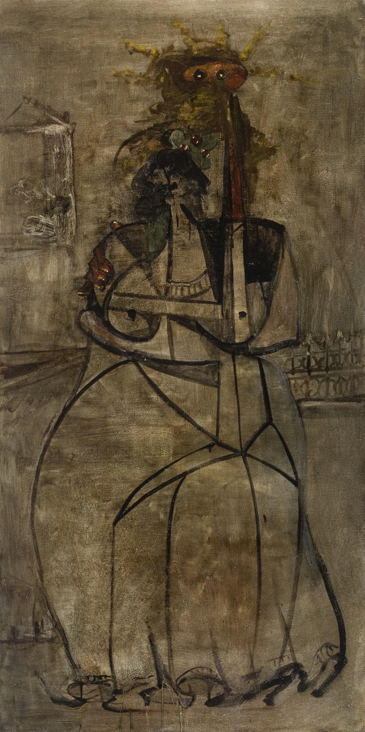 George Condo  Visitation, 1992  Oil on canvas  182.5 × 91.5 cm