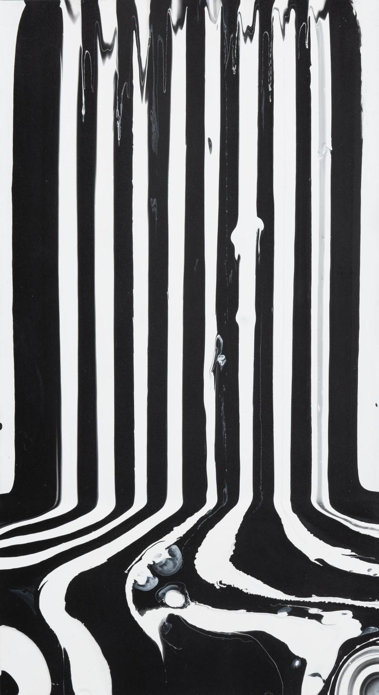 Ian Davenport  Small Black and White Puddle, 2011  Acrylic on aluminium mounted on aluminium panel  43 x 23 cm