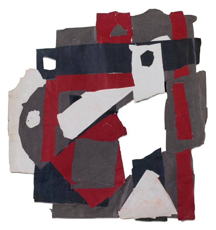 Francis Davison  D 15 (Dark red, green, purple + white), 1971  Collage  99 x 93 cm