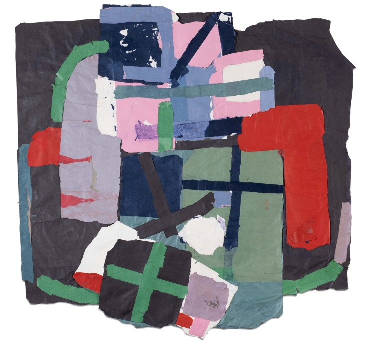 Francis Davison  Navy, Red Blue Pink Green  Collage  120 x 118 cm