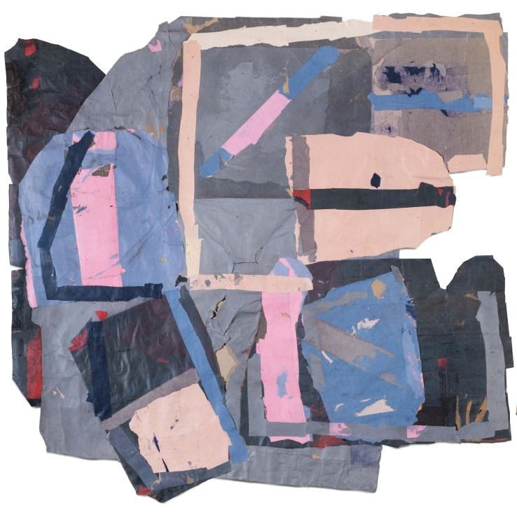Francis Davison  E/G 646 (Sea greys, blues and pinks), c.1975-80  Collage  85 x 86 cm