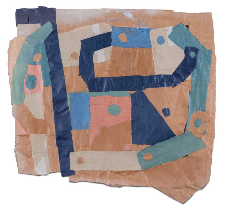 Francis Davison  D 10 (Two blues, Green, Pink and Terracotta), c.1970-71  Collage  110 x 116 cm