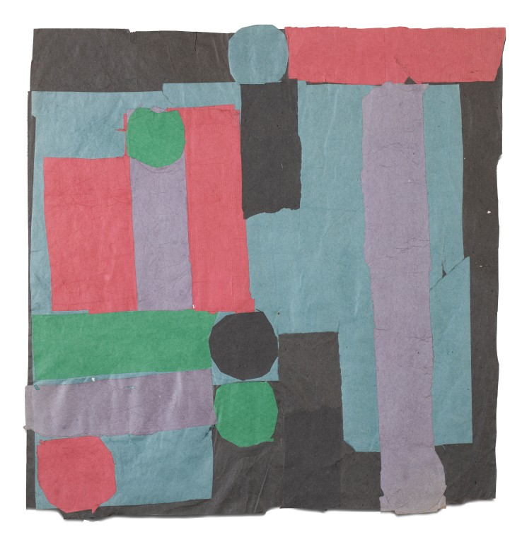 Francis Davison  C 15 (Pale jade, rose red + grass green), c.1965-71  Collage  75 x 73 cm