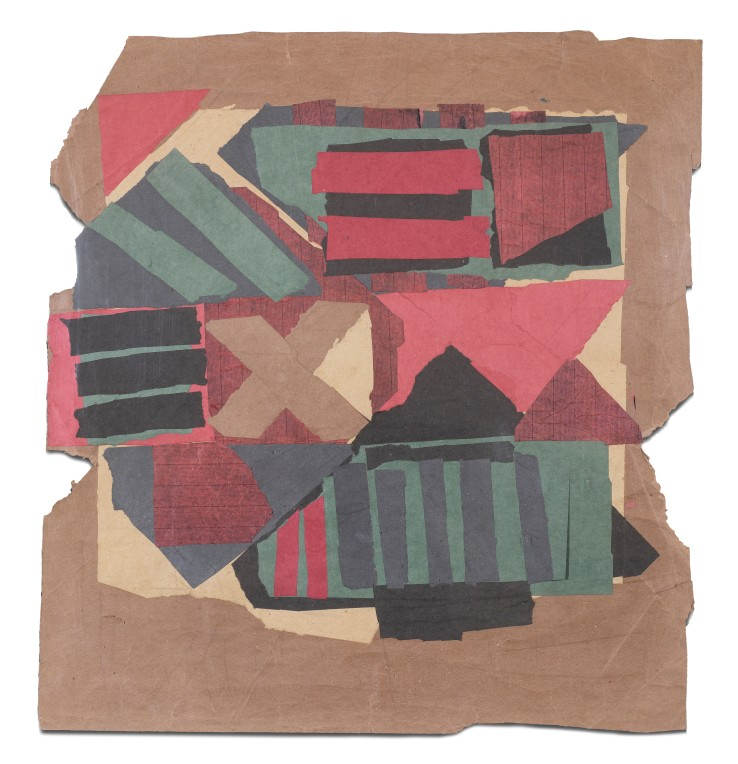 Francis Davison  B 38 (Brown cross: red, black, green, grey stripes), 1963-65  Collage  70 x 65 cm