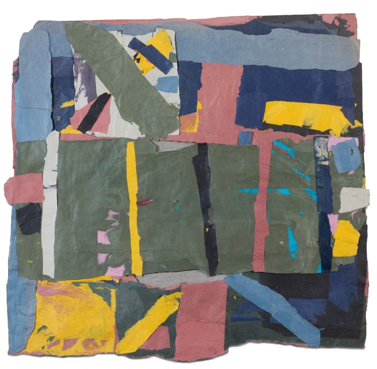 Francis Davison  G 63 (Green oblong in the centre), c.1978-84  Collage  88.5 x 94.5 cm