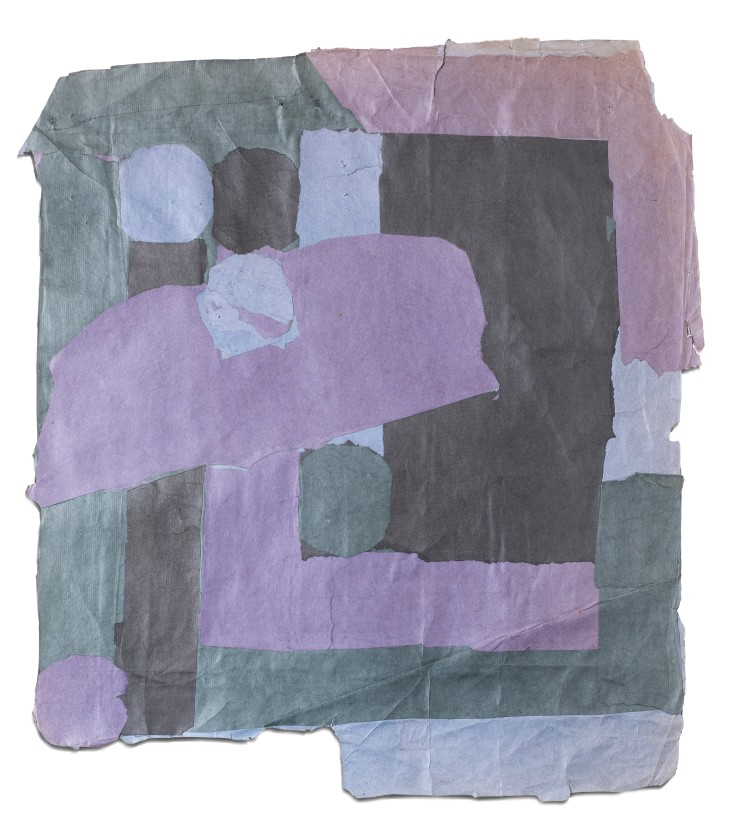 Francis Davison  C 3 (Purple blue slate grey and black), c.1965-71  Collage  79 x 70 cm