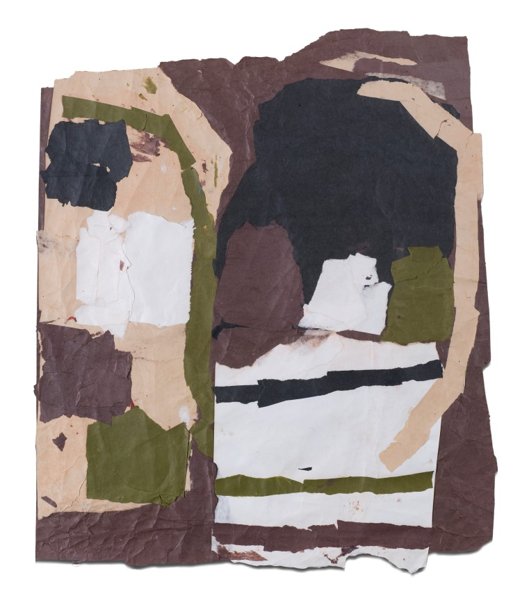 Francis Davison  G 27 (Black brown sand and forest green), c.1978-83  Collage  74 x 62 cm
