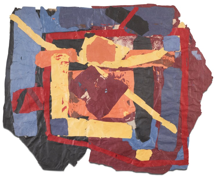 Francis Davison  G 3 (Maroon apricot and yellow with blue and red edges), c.1978-83  Collage  106 x 134 cm