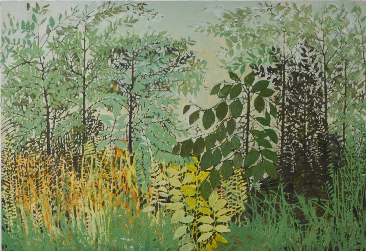 Ffiona Lewis  Cow Parsley; Parsley Cow , 2020  Oil on Gesso Board  70 x 100 cm