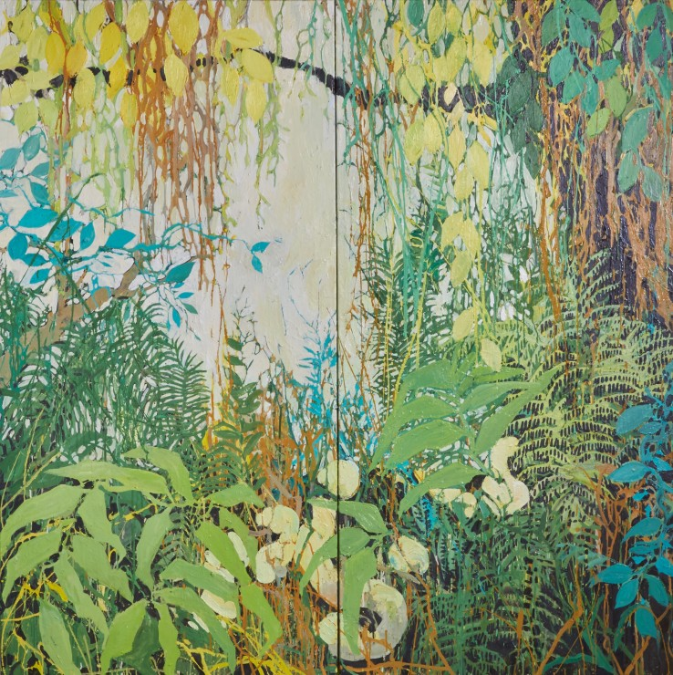 Ffiona Lewis  Puff Ball Potager , 2020  Oil on Canvas, Diptych  152 x 152 cm