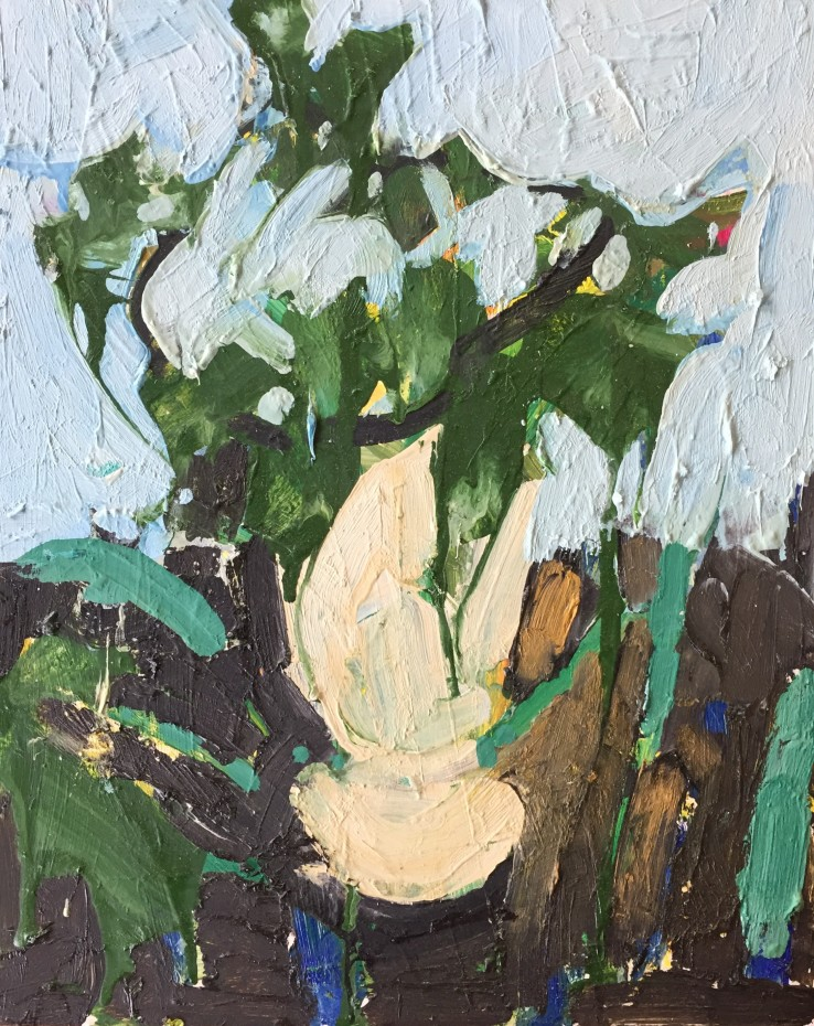 Ffiona Lewis  Vine Cutting, 2020  Oil on Gesso Board  30 x 24 cm