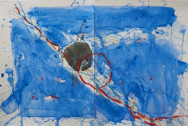 Ffiona Lewis  Puddle, 2019  Mixed media on paper, diptych  40.5 x 61 cm