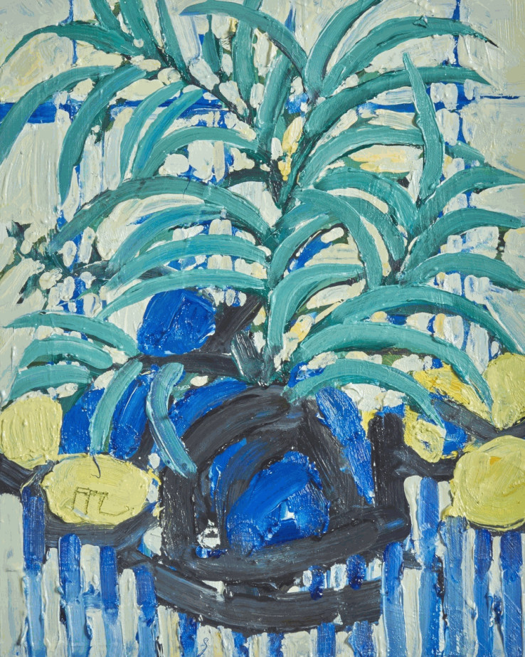 Ffiona Lewis  Blue Ballyhoo!, 2021  Oil on Board  30 x 24 cm