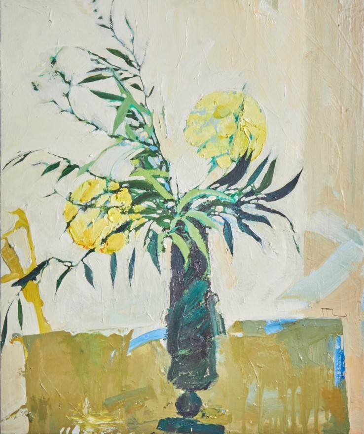 Ffiona Lewis  Biot Glass, Sap Green, 2020  Oil on Gesso Board  50 x 60 cm
