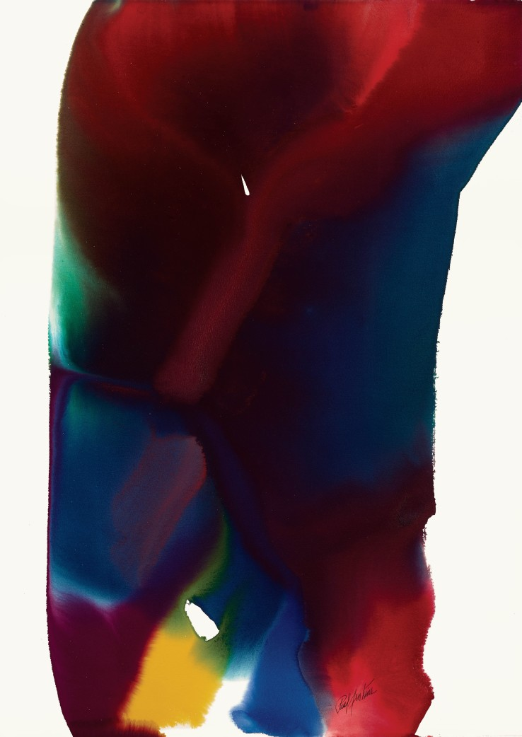 Paul Jenkins  Phenomena Basalt Light, 1994  Watercolour on paper  109.9 × 78.7 cm