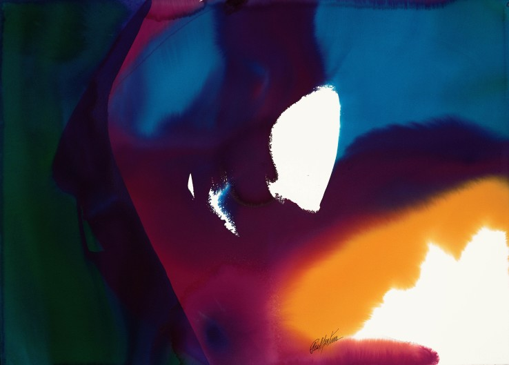 Paul Jenkins  Phenomena Lost & Found, 1995  Watercolour on paper  79.1 × 110.2 cm