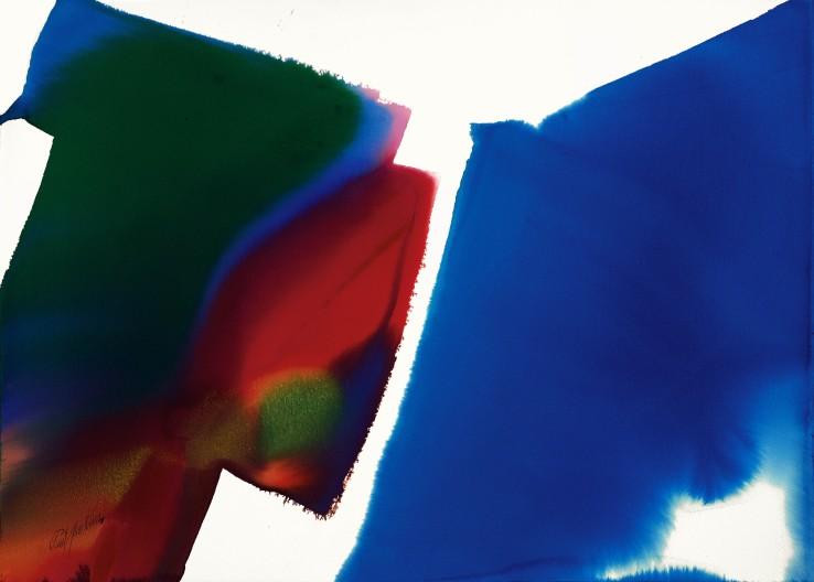 Paul Jenkins  Phenomena Ultramarine Northwester, 1995  Watercolour on paper  79.1 × 110.2 cm