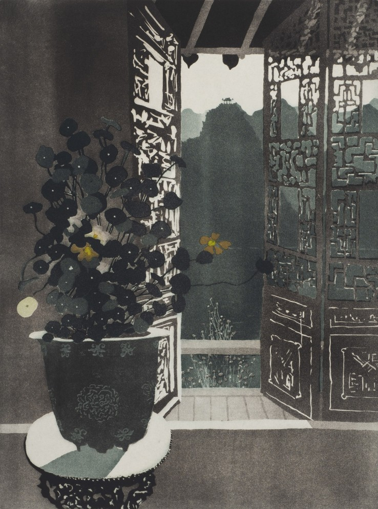 Patrick Procktor  Nasturtiums, Wusih, 1980  Aquatint  59.9 x 45.4 cm  Edition of 75  Signed