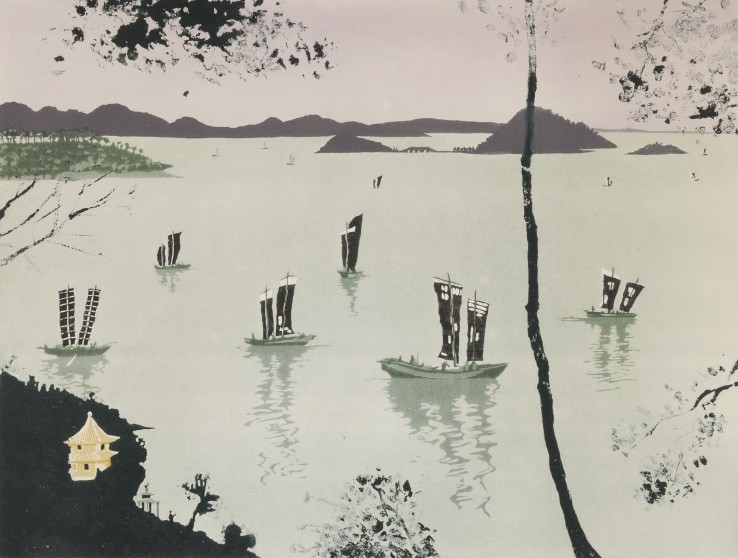 Patrick Procktor  Lake Tai-Hu, Wusih, 1980  Aquatint with sugar-lift  45.4 x 60.1 cm  Edition of 75  Signed