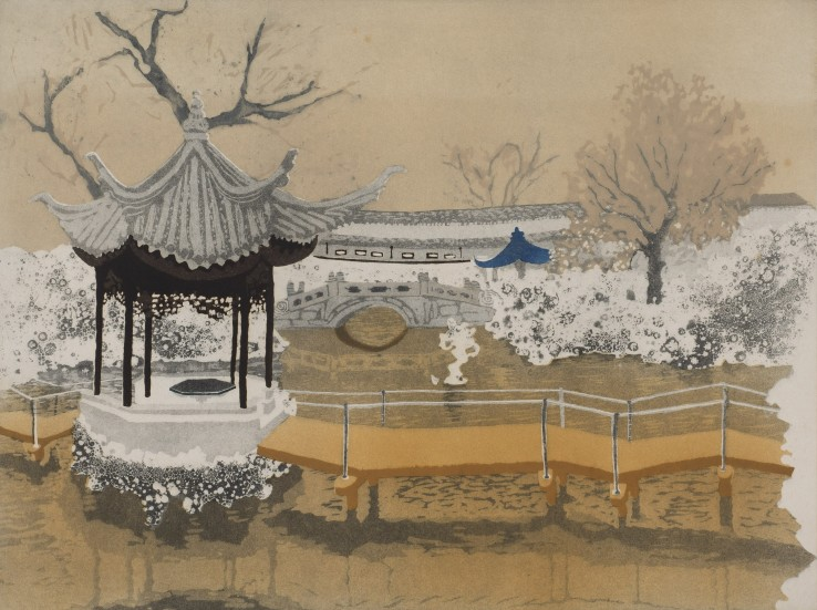 Patrick Procktor  Lion Rocks Garden, Soochow, 1980  Aquatint with sugar-lift  45.4 x 60.1 cm  Edition of 75  Signed