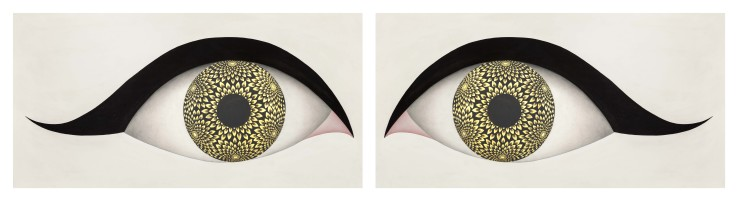 Olivia Fraser  Darshan, 2019  Stone pigments, gold leaf and gum Arabic on handmade Sanganer paper  63.5 x 127 cm each