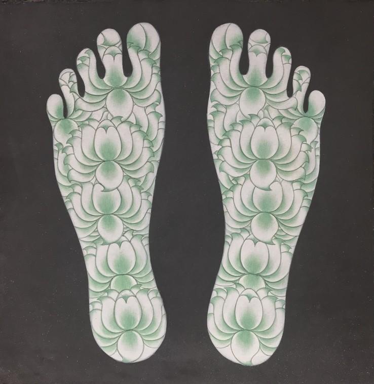 Olivia Fraser  Path I , 2021  Stone pigments and gum Arabic on handmade Sanganer paper  26 x 26 cm
