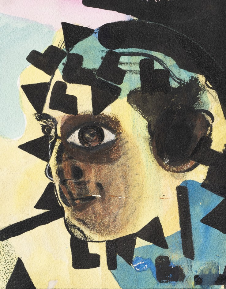 Eileen Agar  Untitled (Head), 1970  Watercolour, wax crayon and pencil on paper  23 x 18.2 cm