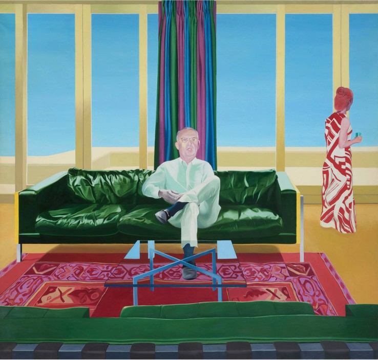 "Neil Stokoe  Man and Woman with Green Couch V , 1972  Oil on Canvas  255.7 cm x 243.8 cm (100.7"" x 96.0"")"