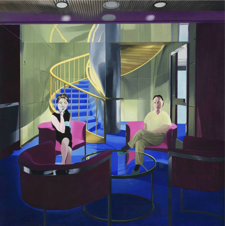 "Neil Stokoe  Man and woman in room with spiral staircase, 1970  Oil on Canvas  244 cm x 244 cm (96.1"" x 96.1"")"