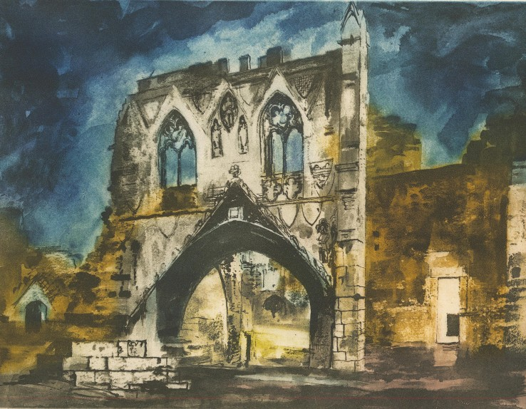 John Piper  Kirkham Priory Gateway, 1988  Etching  40 x 52 cm  A signed proof, aside from the edition of 100 impressions plus 10 APs  Signed