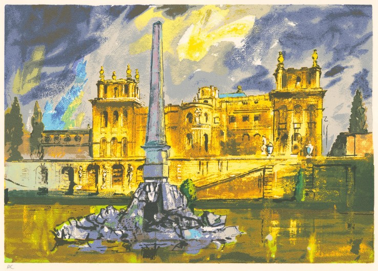 John Piper  Duchene Fountain, Blenheim , 1989  Unsigned  Screenprint  59.8 x 42 cm  From the edition of 100 impressions plus 19 proofs