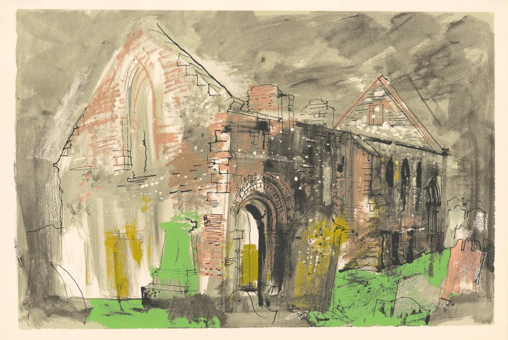 John Piper  Whithorn Priory, 1975  Unsigned  Screenprint  60.3 x 90.5 cm  The edition of 70 impressions plus 20 proofs