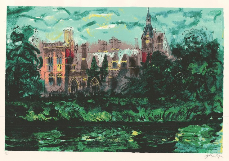 John Piper  Kelham Hall , 1977  Signed  Screenprint  46.7 x 69.4 cm  Numbered 69/75 from the edition of 75 impressions.