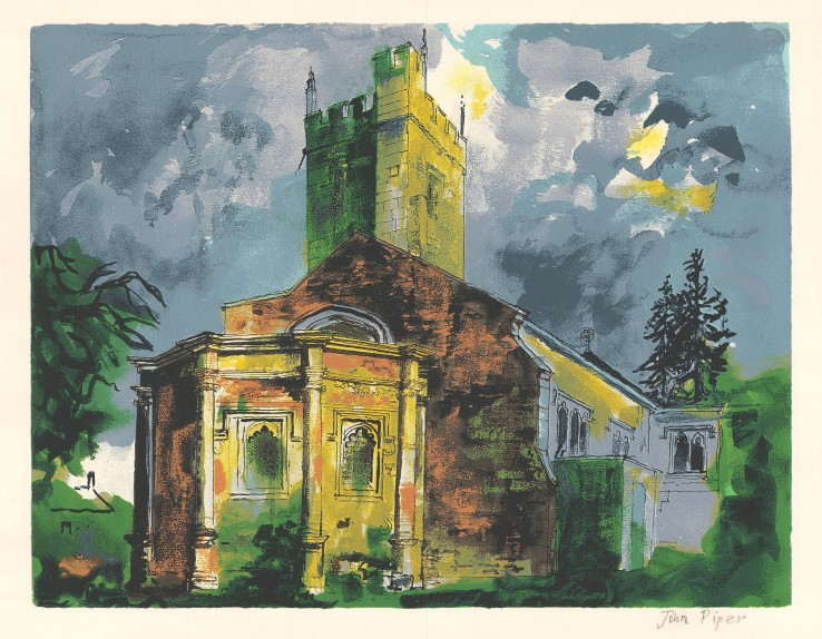 John Piper  Sunningwell, Oxfordshire, 1985  Screenprint  50 x 65 cm  A signed proof, aside from the edition of 70 impressions plus 15 APs  Signed