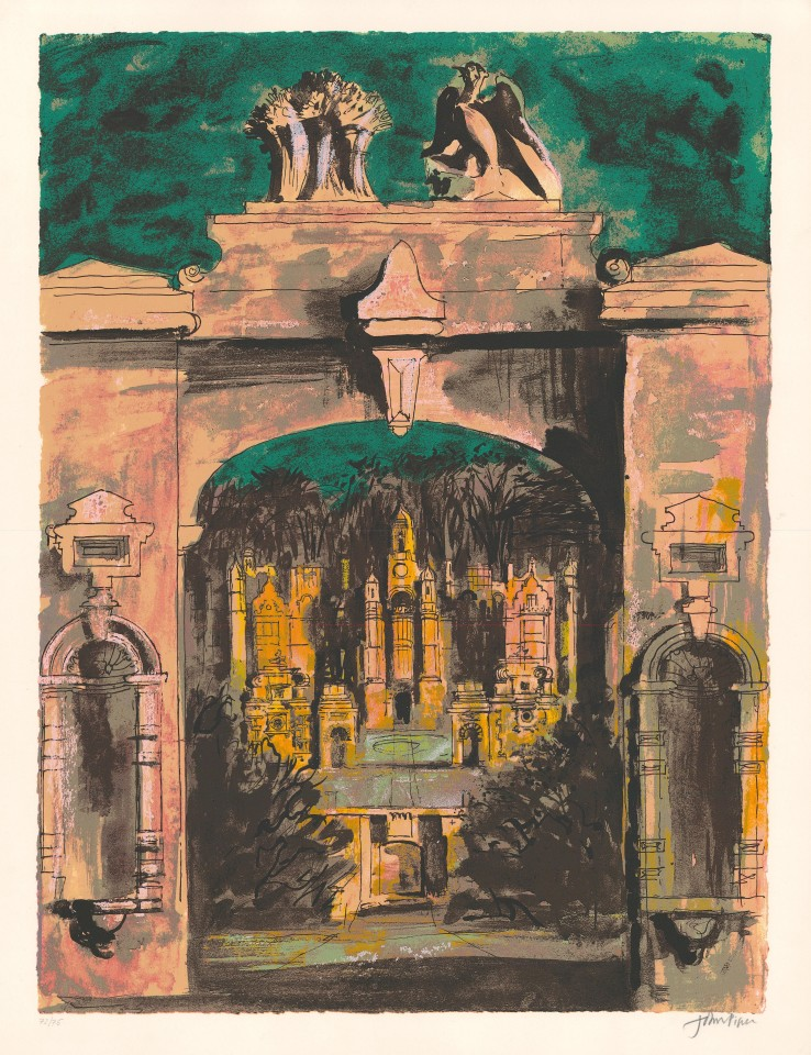 John Piper  Harlaxton through the Gate, 1977  Screenprint  71 x 53 cm  Signed proof, aside from the edition of 75 impressions  Signed