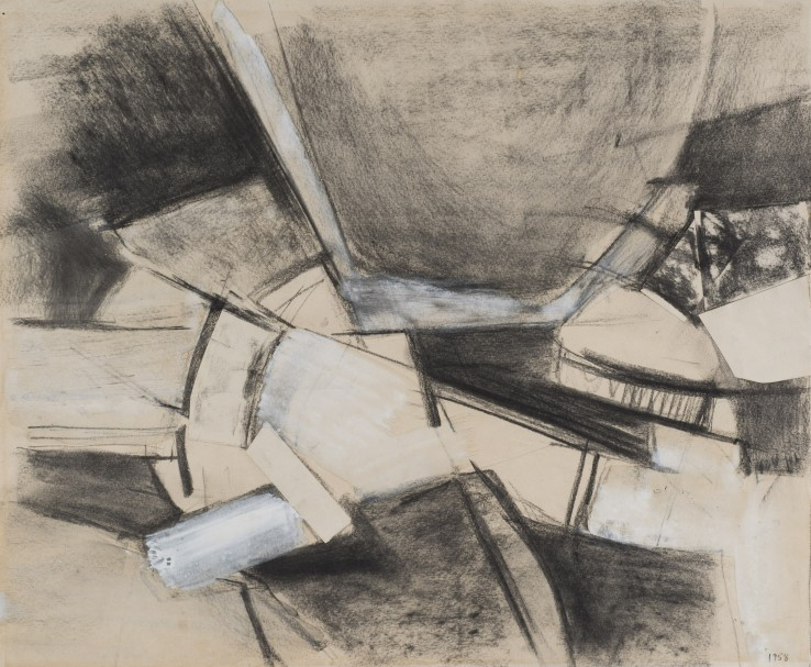 Adrian Heath  Untitled, 1958  Pencil, charcoal, collage and wash  35.2 x 42.5 cm  Dated; signed and dated on verso